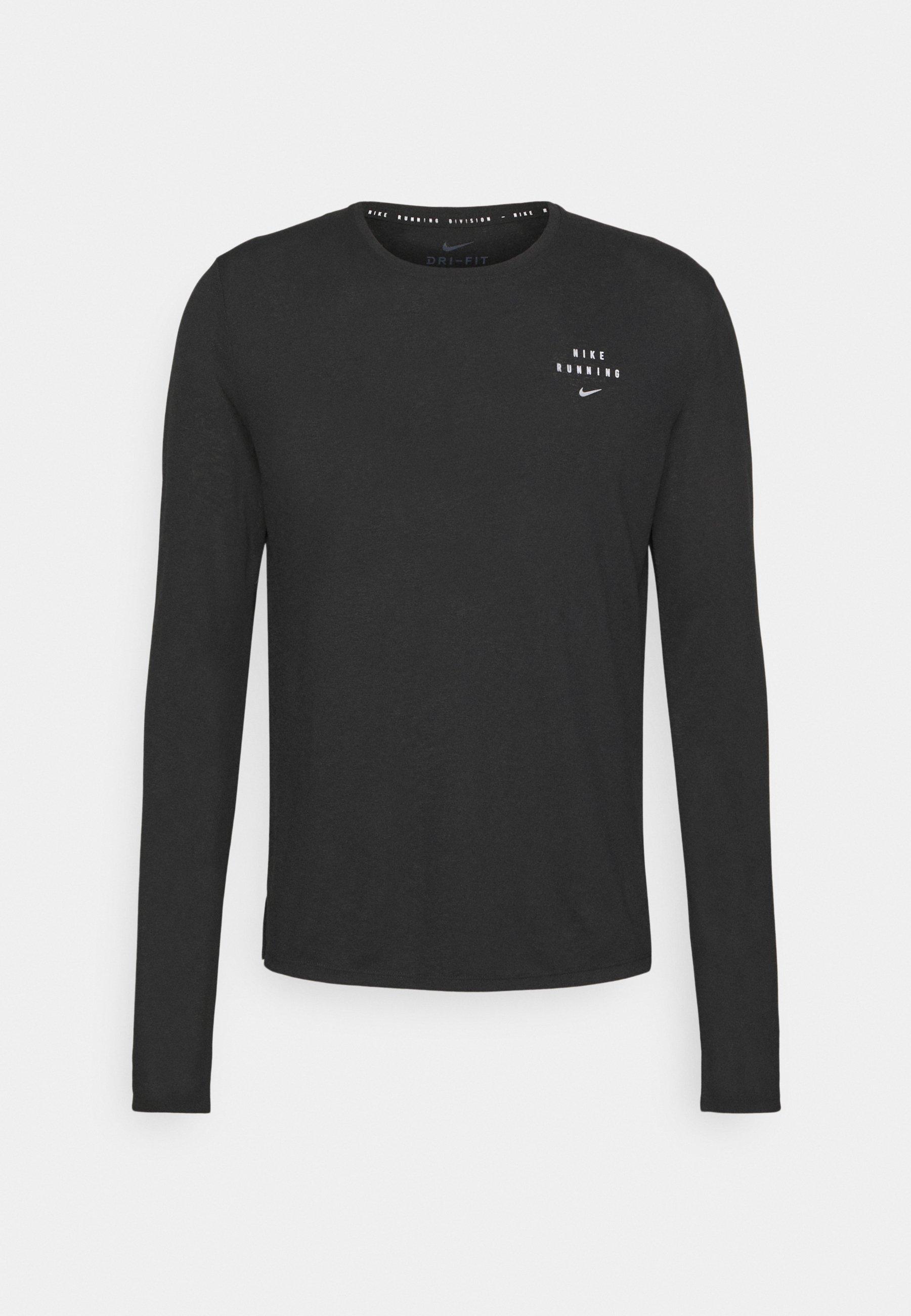 Picotear Narabar raíz  Nike Performance Nike RUN Division Miler - Sports shirt - black/reflective  silver/black - Zalando.co.uk