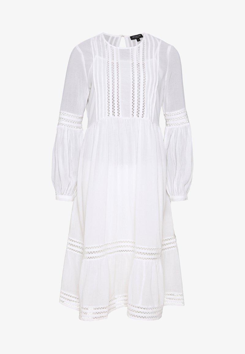 Selected Femme Petite - SLFVALENTINA MIDI DRESS PETITE - Sukienka letnia - snow white