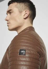 TOM TAILOR - Faux leather jacket - mid brown fake leather - 3