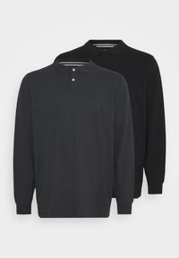 Pier One - BIG 2 PACK LONG SLEEVE - Piké - black/mottled dark grey - 0