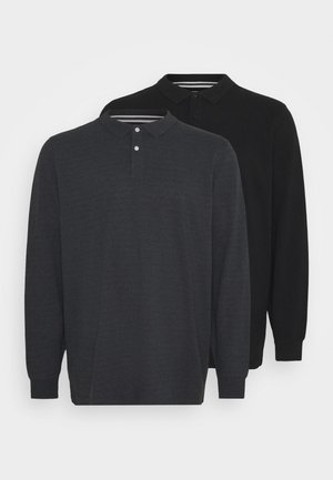 BIG 2 PACK LONG SLEEVE - Polo - black/mottled dark grey