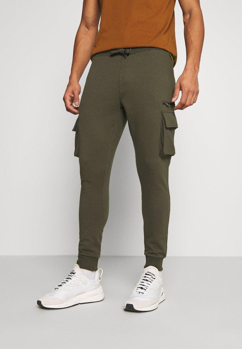 Burton Menswear London - CARGO ZIP JOGGER - Trainingsbroek - khaki
