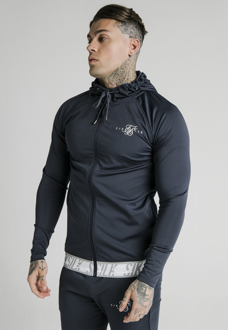 SIKSILK - SCOPE TAPE ZIP THROUGH HOODIE - Felpa aperta - navy