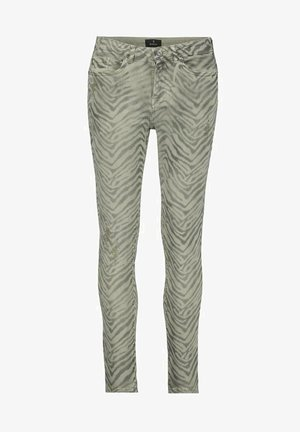 Slim fit jeans - dusty green gemustert