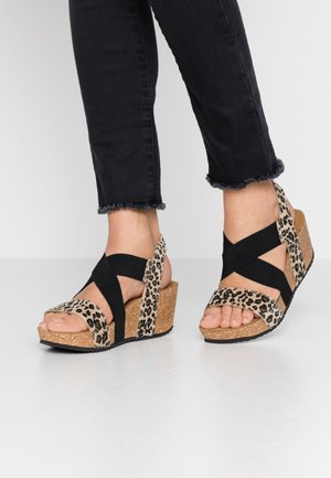 STACIA LEOPARD - Platform sandals - brown