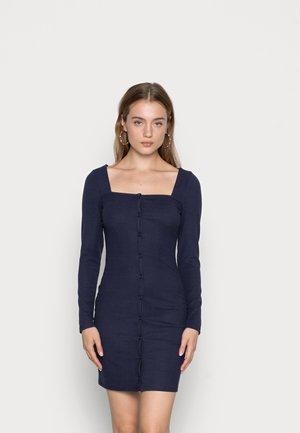 LONG SLEEVE SQUARE NECK MINI DRESS - Jersey dress - navy
