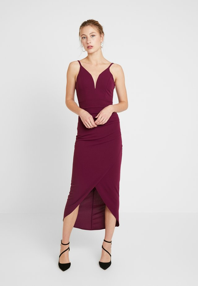 THIN STRAP V NECK PLUNE MIDI DRESS - Cocktail dress / Party dress - plum