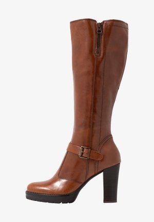 LEATHER BOOTS - High heeled boots - cognac