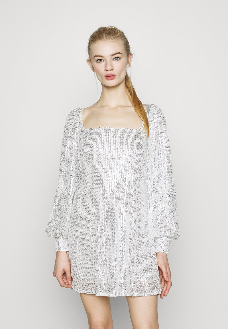 Missguided - BALLOON SLEEVE TIE BACK DRESS - Cocktail dress / Party dress - silver