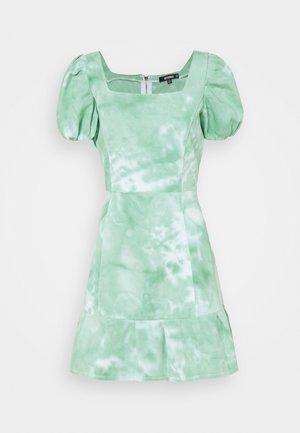 PUFF SLEEVE DRESS - Denim dress - green