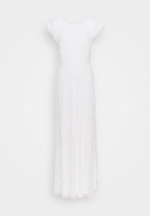 ALL OVER SEQUIN MAXI DRESS WITH FLUTTER SLEEVE - Gallakjole - ivory