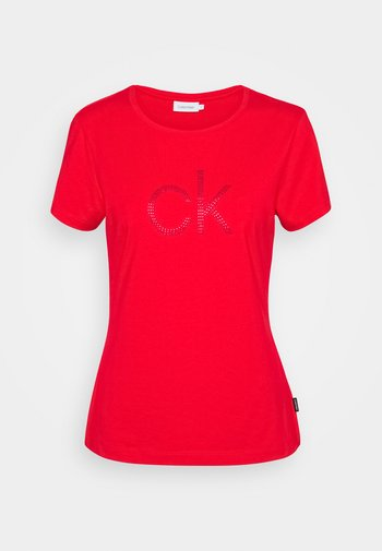 SLIM FIT DIAMANTE TEE - Print T-shirt - red glare