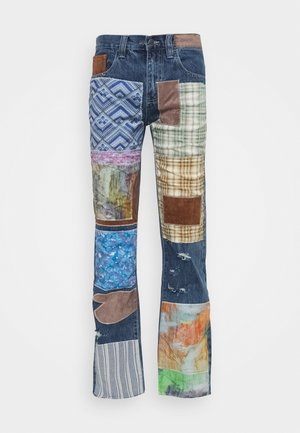 REWORKED PATCHWORK  - Džíny Bootcut - blue