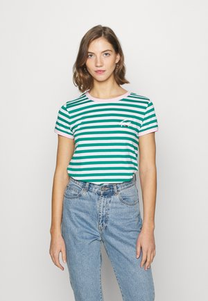 LOGO STRIPE RINGER TEE - T-shirt con stampa - white / midwest green