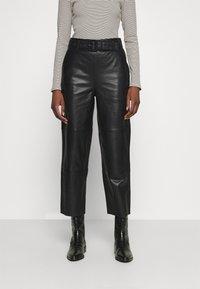 Gestuz - STORIA PANTS - Leather trousers - black - 0