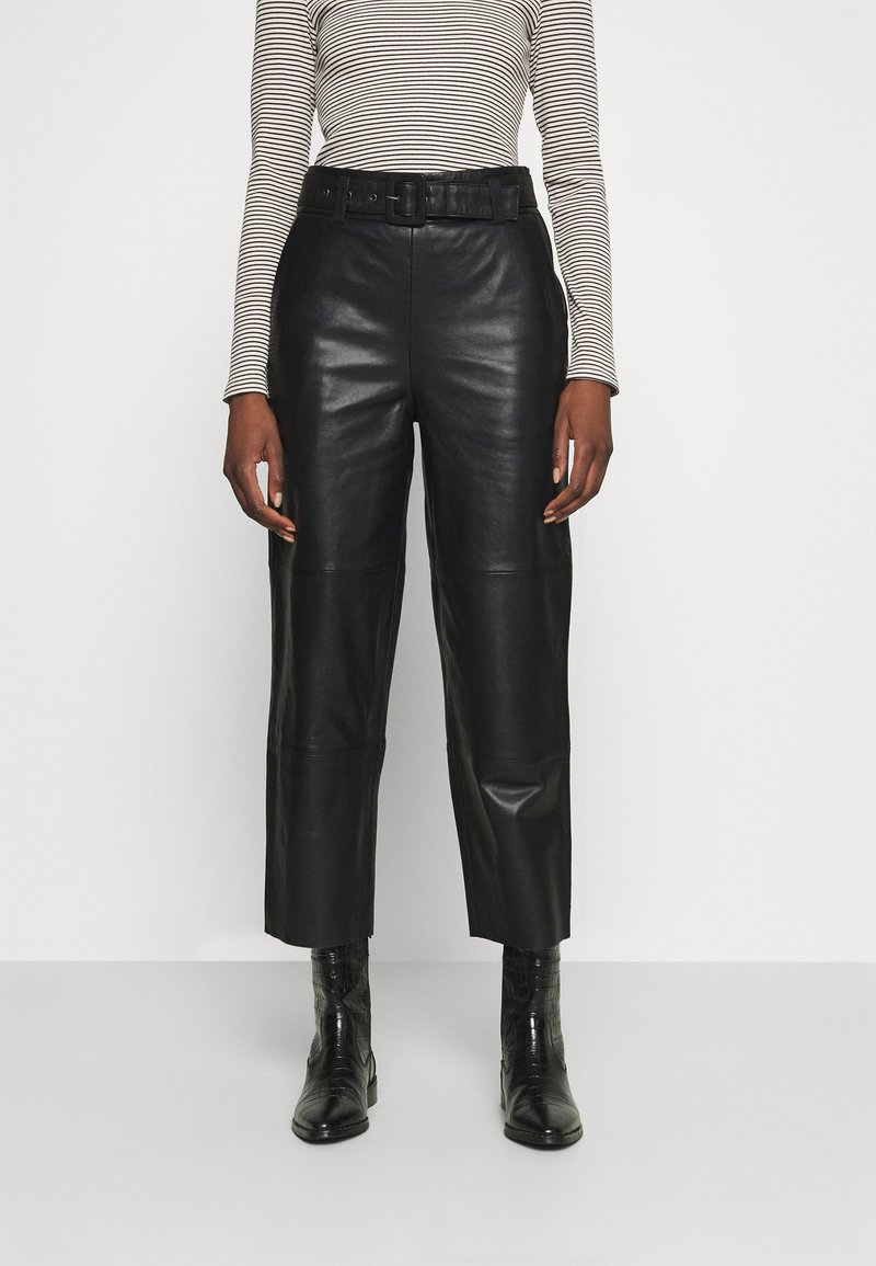 Gestuz - STORIA PANTS - Leather trousers - black
