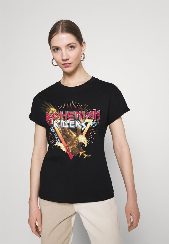 BOHEMIAN RIDERS BOXY TEE WOMEN - T-shirt med print - black