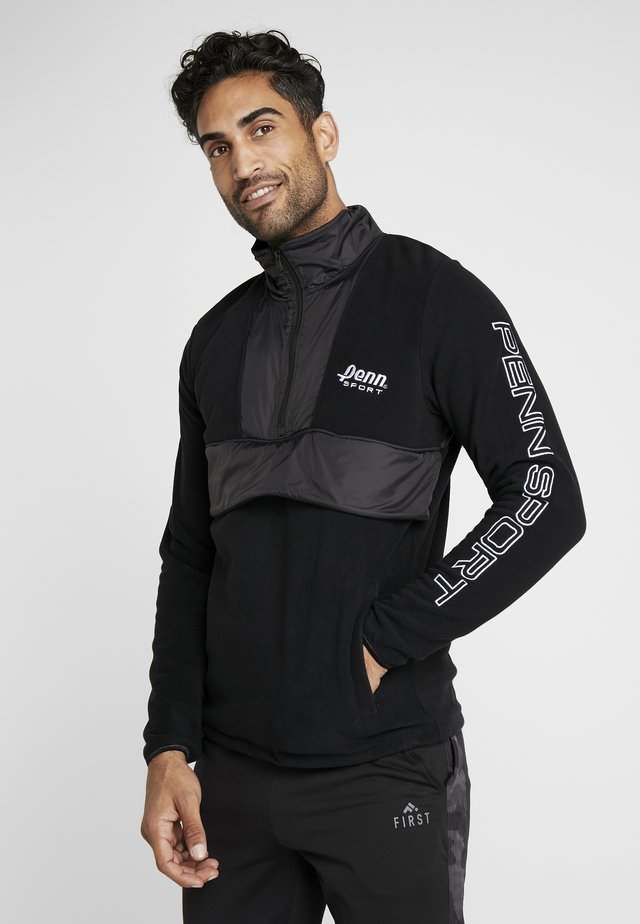 MEN'S BLOCKED POLAR ZIP - Fleece jumper - black