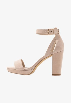 LEATHER HEELED SANDALS - High heeled sandals - nude
