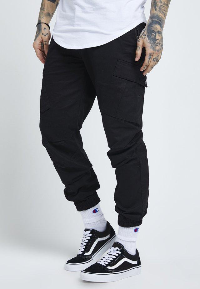 FITTED CUFF PANTS - Cargobukse - black