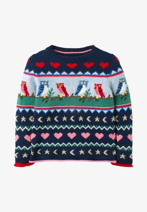 Jumper - schuluniform-navy, eule/fair-isle-muster