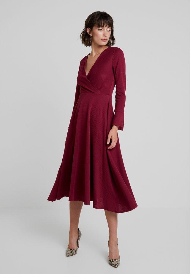 LONG SLEEVE WRAP DRESS - Day dress - dark pink