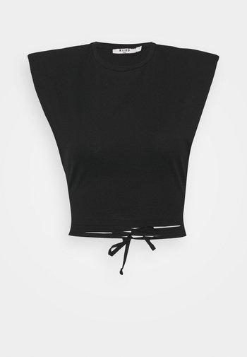 SHOULDER PADDED DETAIL - Print T-shirt - black