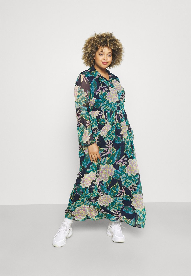 VILA CURVE - VIERICA ANKLE DRESS - Maxi dress - blue