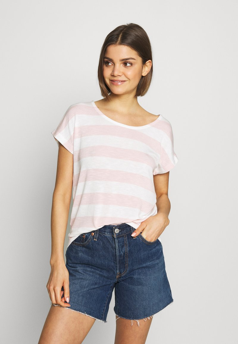 Vero Moda - VMWIDE STRIPE TOP  - T-shirts med print - sepia rose/snow white
