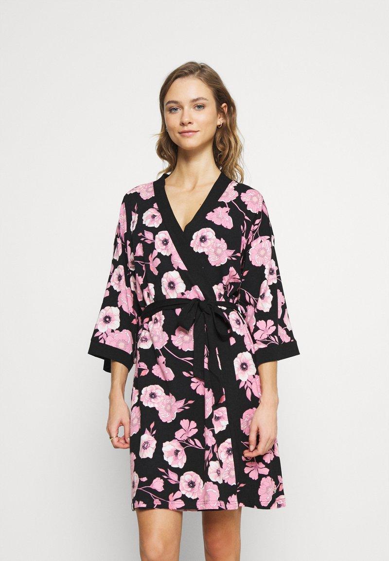LASCANA - KIMONO - Dressing gown - black/pink