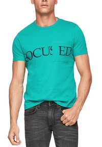 QS by s.Oliver - DETAIL - Print T-shirt - turquoise - 2