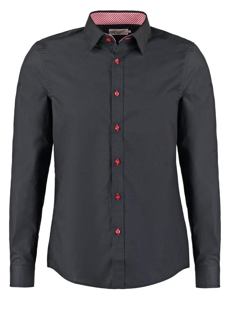 Pier One Contrast Button Slimfit - Koszula Black/red