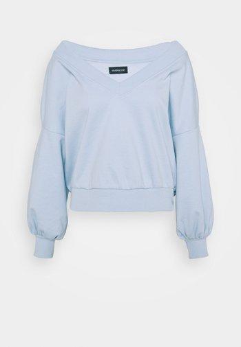 Balloon sleeve V neck - Sweatshirt - blue