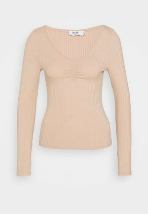 FRONT RUCHED TOP - Long sleeved top - beige