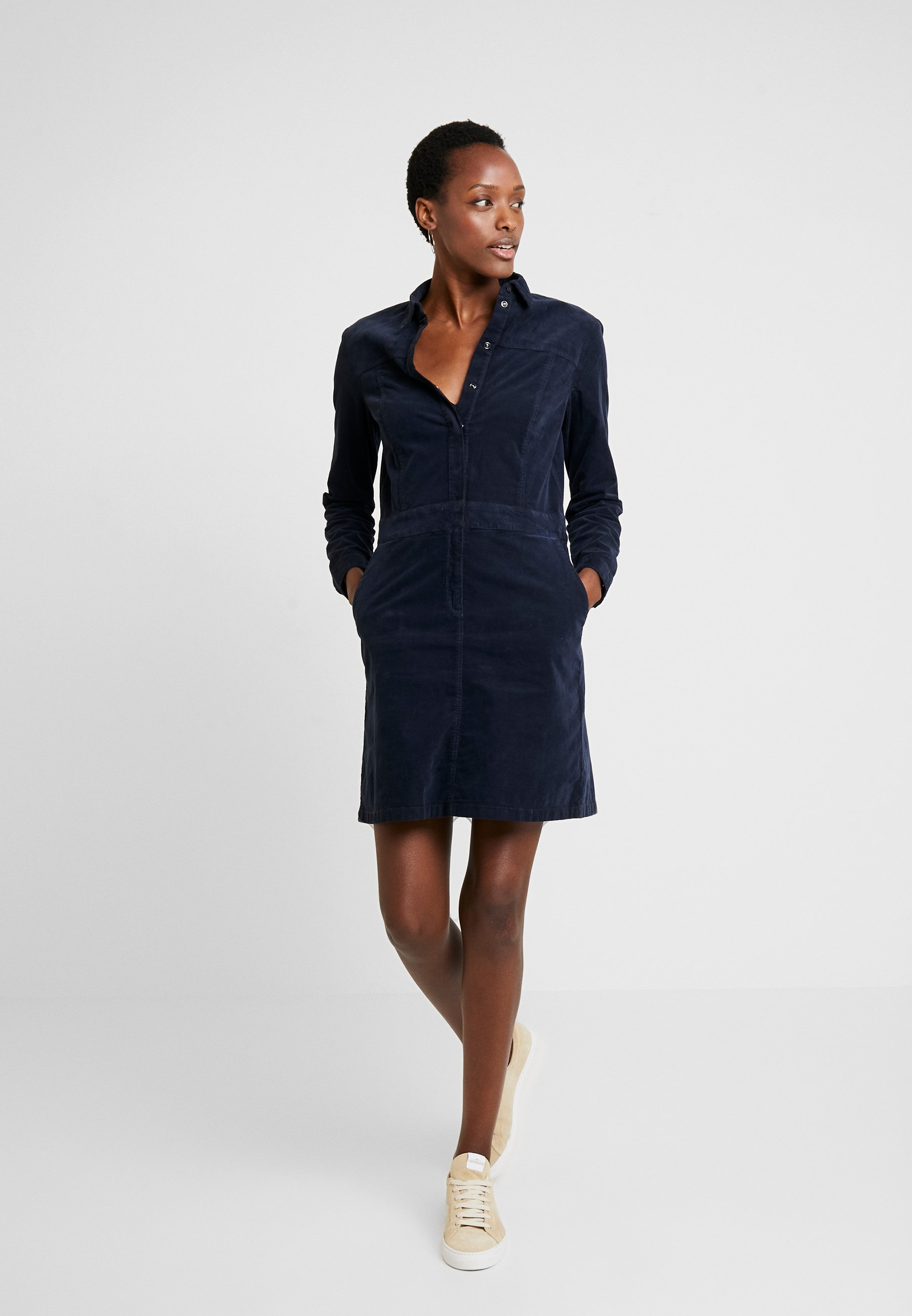 corduroy style - blusenkleid - midnight blue