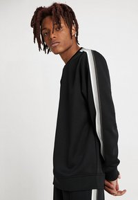 Urban Classics - SLEEVE TAPED CREWNECK - Sweatshirt - black/grey - 0