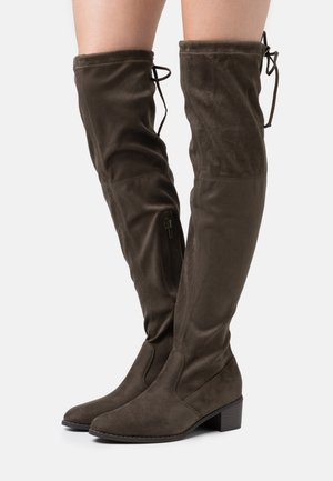 Over-the-knee boots - khaki