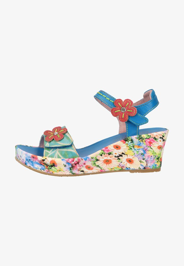 Sandały na koturnie - bleu