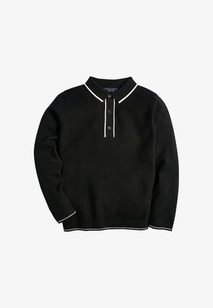 KNITTED TEXTURED - Longsleeve - black