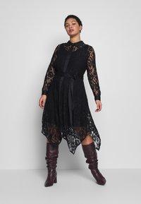 Live Unlimited London - HANKY HEM DRESS - Vestido camisero - black - 1
