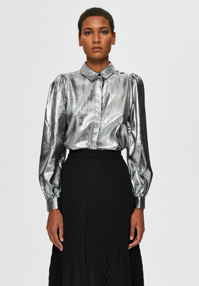Selected Femme - Button-down blouse - silver