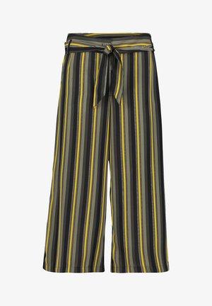 MIT BINDEGÜRTEL - Pantalon classique - schwarz/grün