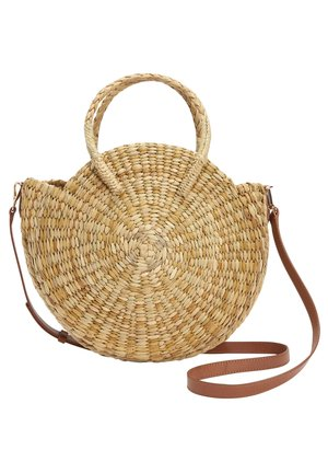 CIRCLE STRAW - Handbag - beige