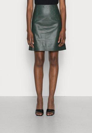 LIANA - Leather skirt - iris leaf