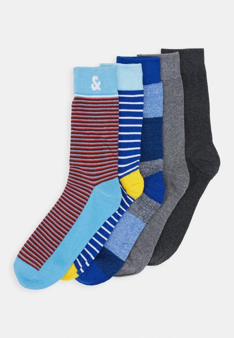 Jack & Jones - JACTWISTED STRIP SOCK 5 PACK - Socks - light grey melange/dark grey melange
