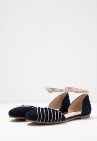 Anna Field - LEATHER - Ankle strap ballet pumps - dark blue - 4