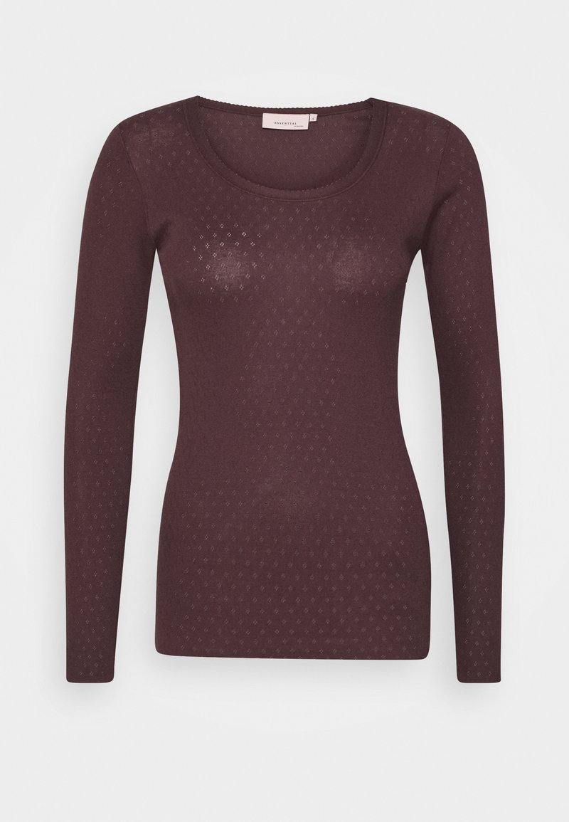 Noa Noa - ESSENTIAL NEW POINTELLE  - Long sleeved top - chocolate plum