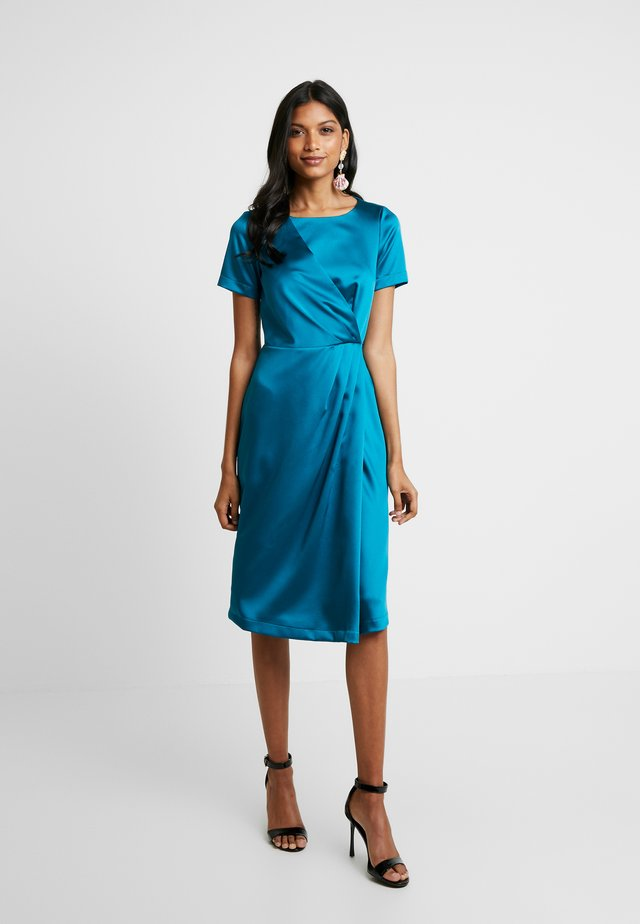 SHORT SLEEVE WRAP OVER DRESS - Juhlamekko - teal