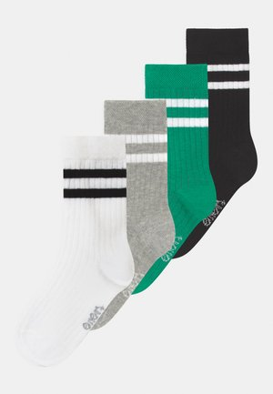 STRIPES 4 PACK - Socks - white/black/green/grey