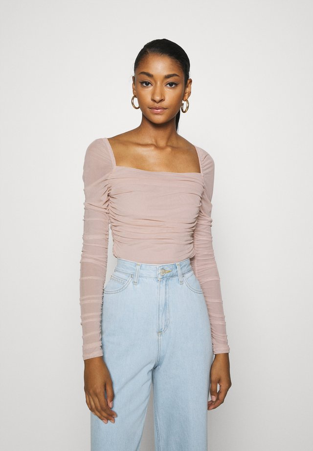 SQUARE NECK - Long sleeved top - beige